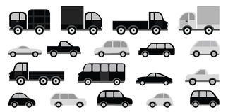 Cars collection (black & white) Royalty Free Stock Images