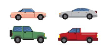 Cars Set of Different Color Vector Illustration. Cars collection of different colors and models, big vehicle and personal transport in city for people to get to Stock Illustration