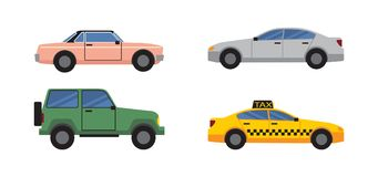 Cars Set of Different Color Vector Illustration. Cars collection of different colors and models, personal transport and public taxi vehicle, retro automobile and Stock Illustration