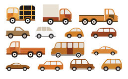 Cars collection (retro colors) Stock Image