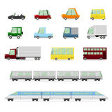 Cars Collection, Vehicles in cartoon flat style Royalty Free Stock Images