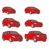 Cars colored sedan,suv,van,compact,pickup vector set Stock Photos