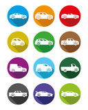 Cars colorful icons. Cars colorful icons on a white background Royalty Free Stock Images