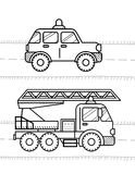 Cars coloring book for kids. Firetruck, police Stock Photography