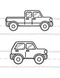 Cars coloring book for kids. Pickup, 4WD royalty free illustration