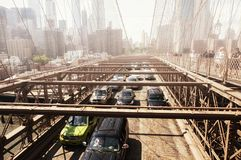 Manhattan bridge new york city skyline fog royalty free stock photos