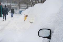 Cars completely covered with snow Stock Image