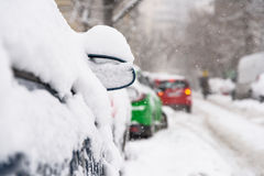 Cars Covered With Fresh White Snow After A Heavy Blizzard In Bucharest Stock Image