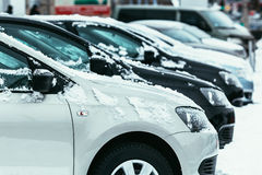 Cars covered with fresh white snow in winter time Royalty Free Stock Photo