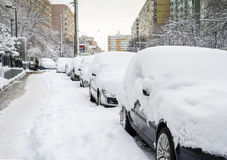 Cars covered partially in snow Stock Images