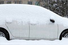 Cars covered with snow Royalty Free Stock Photo