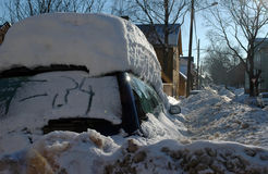 Cars covered with snow Stock Images