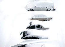 Cars covered in snow. Snow covered cars after blizzard Stock Photo