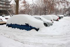 Cars Covered In Snow Royalty Free Stock Photos