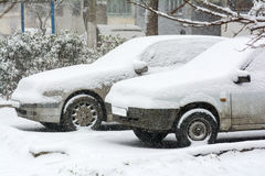 Cars covered snow Royalty Free Stock Photos