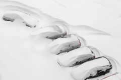 Cars covered in snow royalty free stock photo