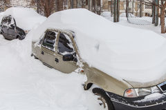 Cars covered in snow Royalty Free Stock Image