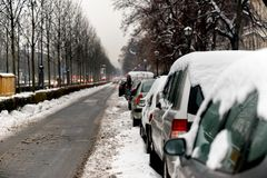 Cars covered in snow after blizzard Royalty Free Stock Image
