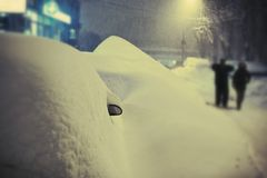 Cars covered by snow Royalty Free Stock Images