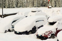 Cars covered by snow Royalty Free Stock Photos