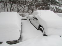 Cars covered in snow. January 2016, USA. Г. Stock Image