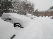 Cars covered in snow. January 2016, USA. Г. Stock Photography