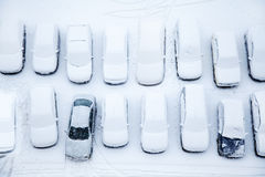 Cars covered with snow. Parked cars covered with snow Royalty Free Stock Photos