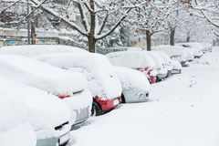 Cars covered in snow on a parking lot Royalty Free Stock Photography