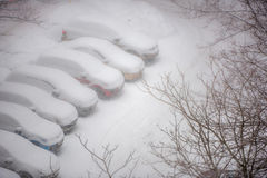 Cars covered in snow on a parking lot in the residential area du Stock Photos