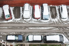 Cars covered with snow on the parking lot. From the top view at winter seson Stock Photography