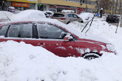 Cars covered with snow after snow storm Royalty Free Stock Image