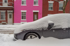 Cars covered in snow during snowstorm Stock Photography
