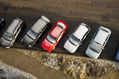 Cars Covered Snow Stand In Parking In Winter Stock Images