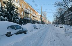 Cars covered by snow on the street Stock Photography