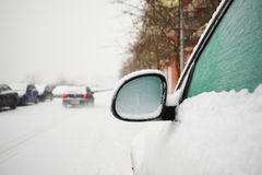 Cars covered by snow Royalty Free Stock Photo