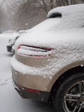 Cars covered in snow during winter storm Royalty Free Stock Image
