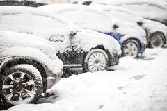Cars covered with white snow Royalty Free Stock Photography