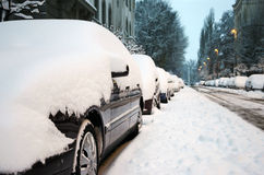 Cars cowered with snow Stock Photo