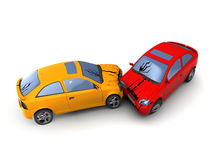 Cars crash. 3d illustration of road accident cars crash, over white background Royalty Free Stock Photography