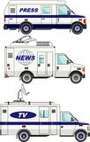 Cars crew news, the press and television on a white background in a flat style Royalty Free Stock Photo