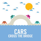 Cars Cross The Bridge Over The River Royalty Free Stock Photos