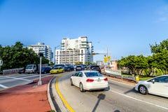 Cars cross the draw bridge in Miami Royalty Free Stock Photo