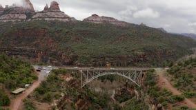 Cars cross Midgley Bridge in Oak Creek Canyon, Sedona Arizona