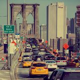 Cars crossing Brooklyn Bridge Royalty Free Stock Photos