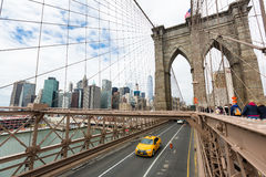 Cars crossing the Brooklyn Bridge in New York Royalty Free Stock Photos
