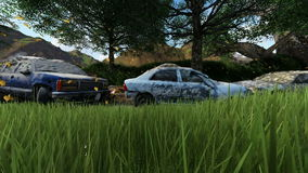 Cars damaged variety in front of the ruins at dayligh. Cars damaged variety in front of the ruins destroyed between trees at dayligh stock footage