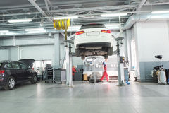 Cars in a dealer repair station in Moscow, Russia Royalty Free Stock Photography
