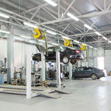Cars in a dealer repair station in Moscow Royalty Free Stock Images