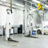Cars in a dealer repair station in Moscow Stock Photos