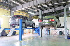 Cars in a dealer repair station Stock Photos
